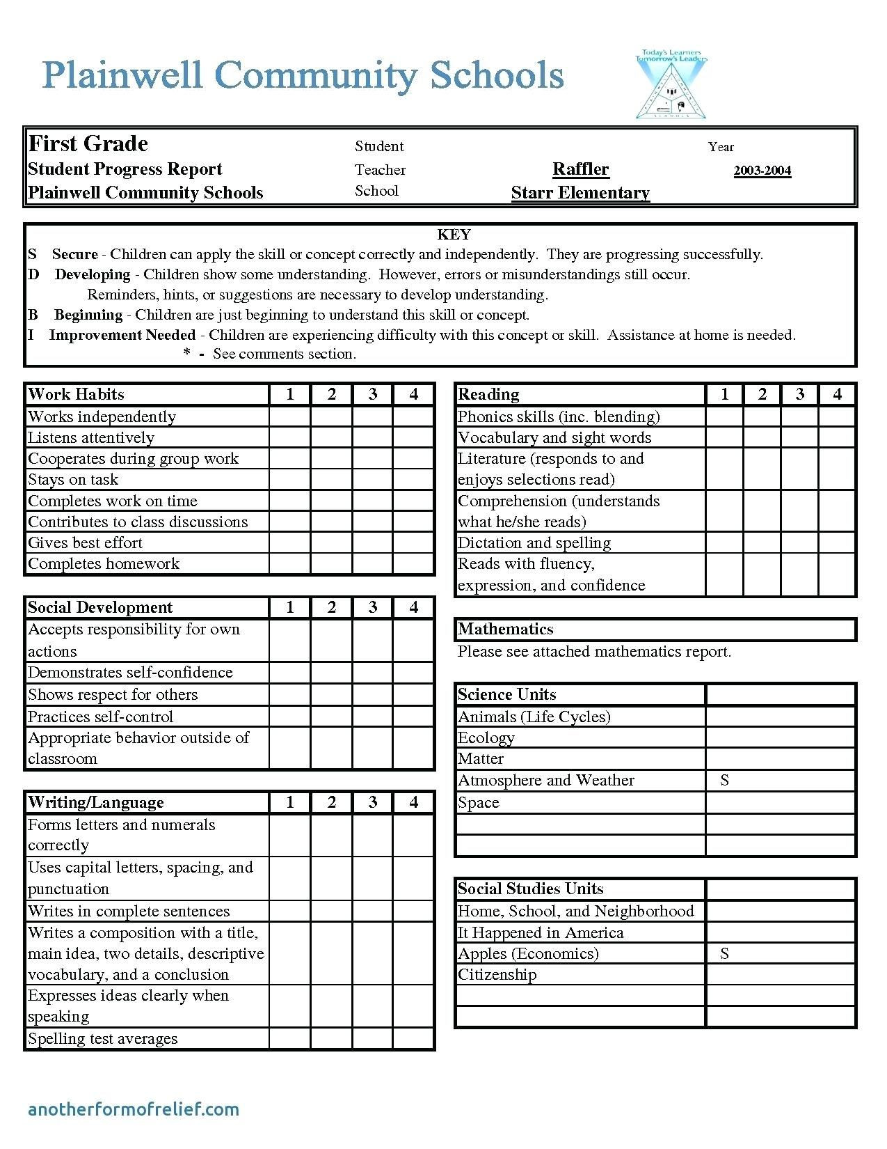 Homeschool Report Card Template