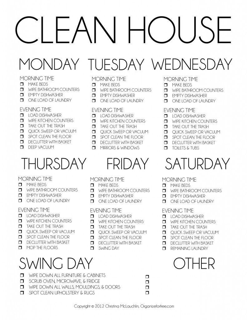 House Cleaning Schedule Template