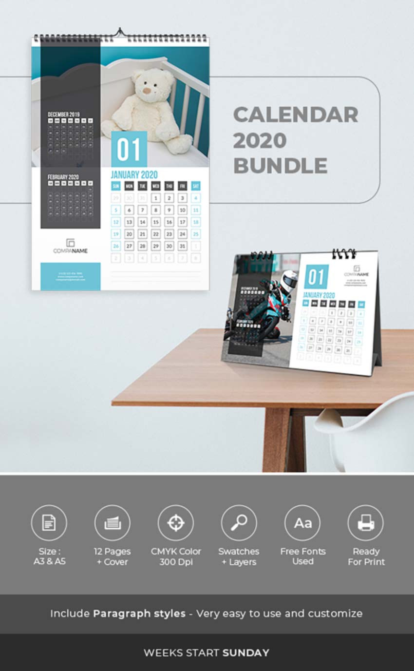 26 Best InDesign Calendar Templates New for 2020