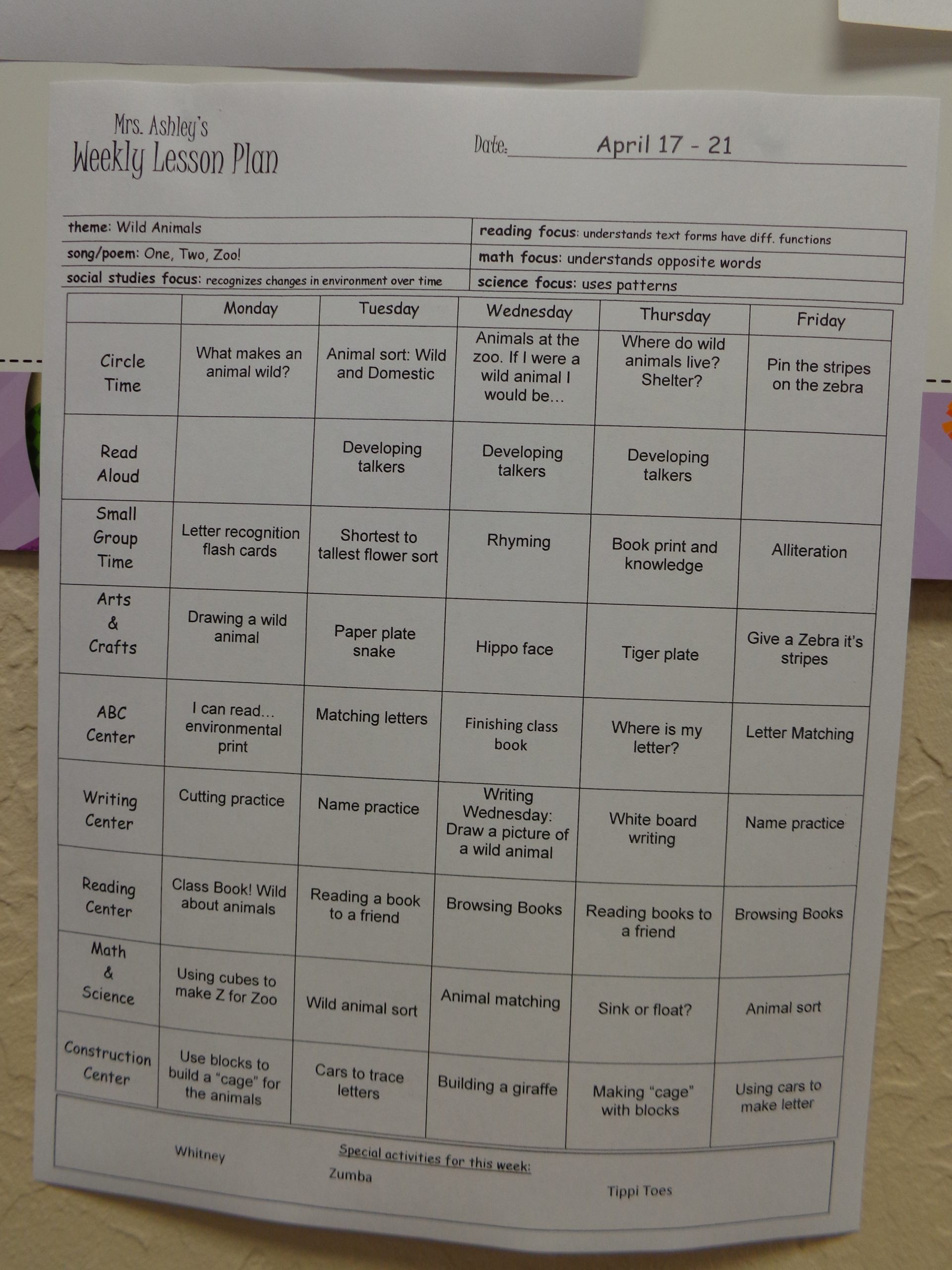 Infant Lesson Plan Template
