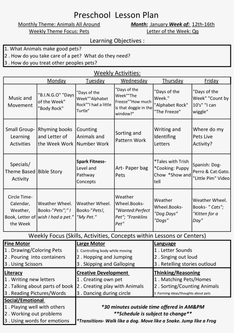 Lesson Plan Template Preschool