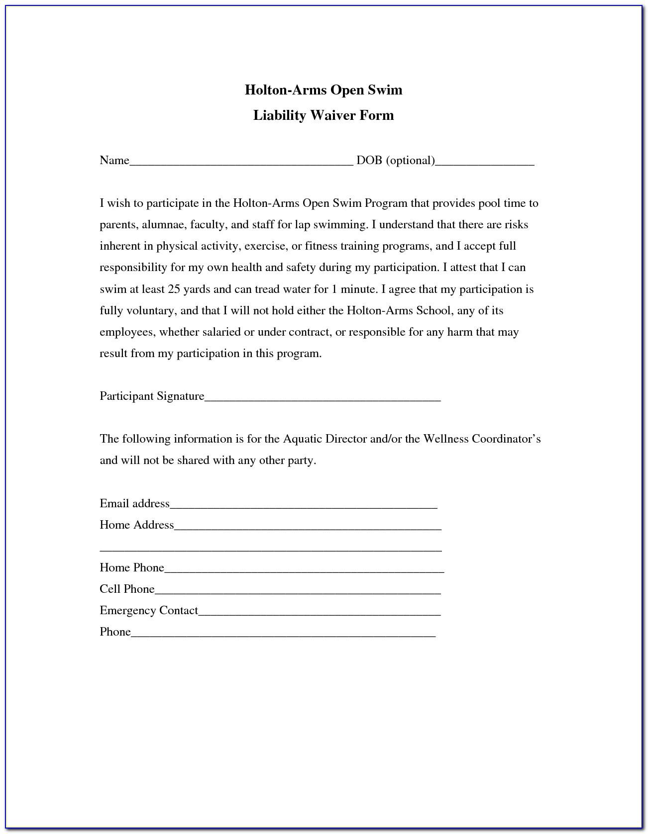 Liability Release form Template