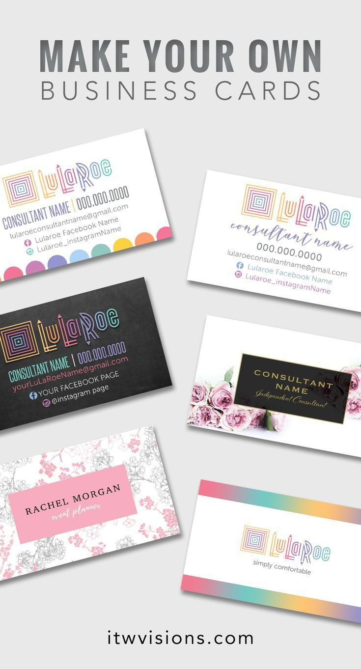 make your own lularoe business cards with already designed