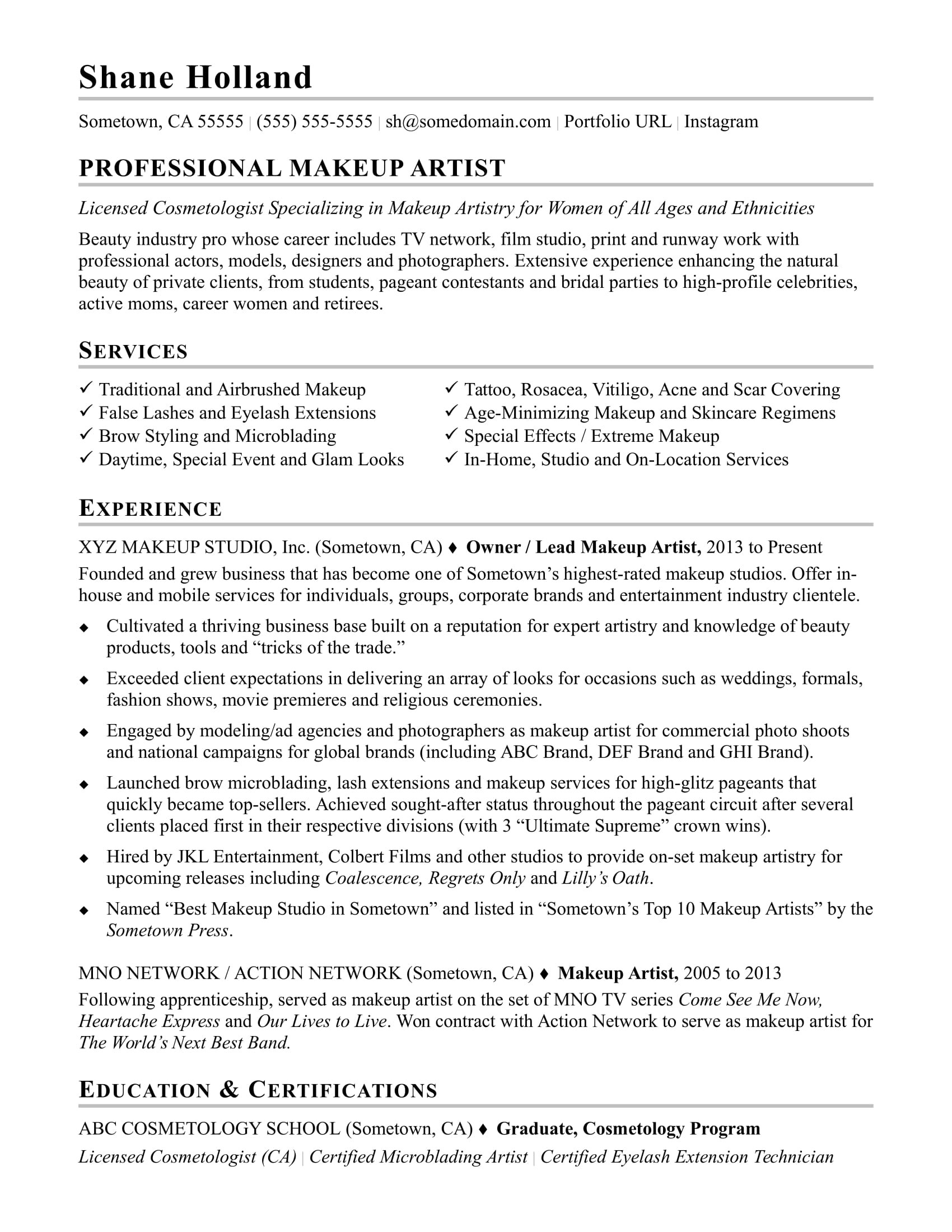 Makeup Artist Contract Template