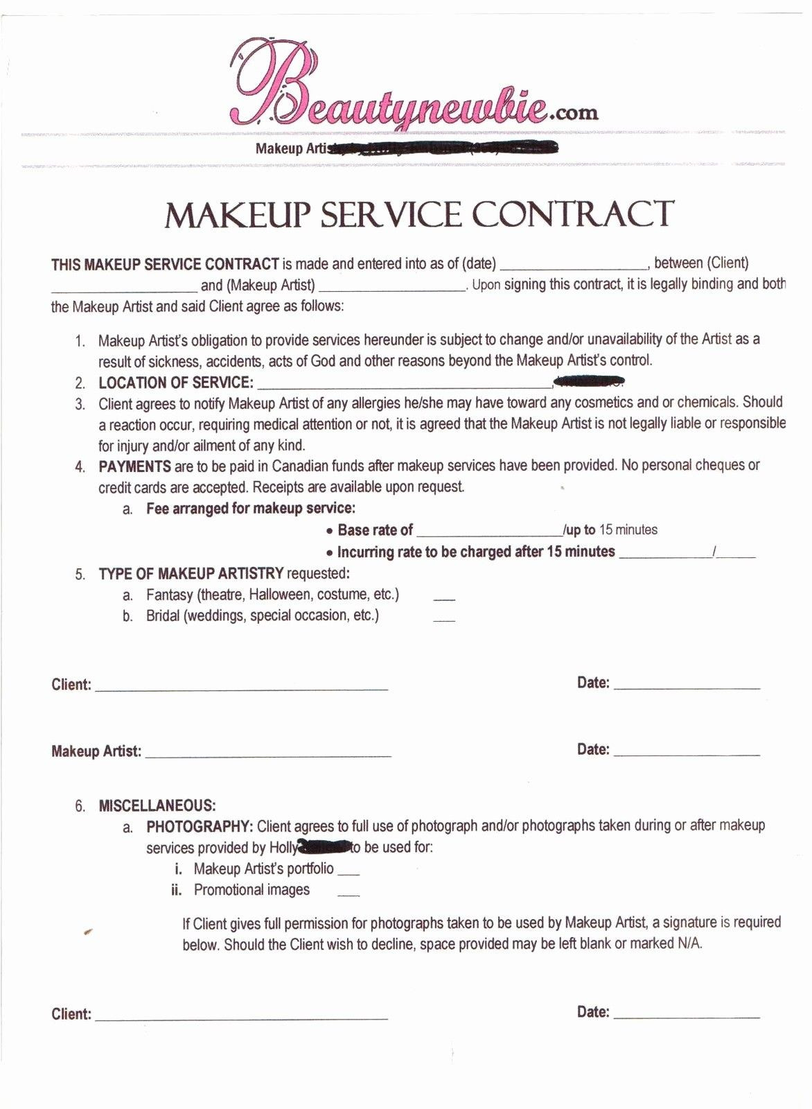Freelance Makeup Artist Contract Template Inspirational