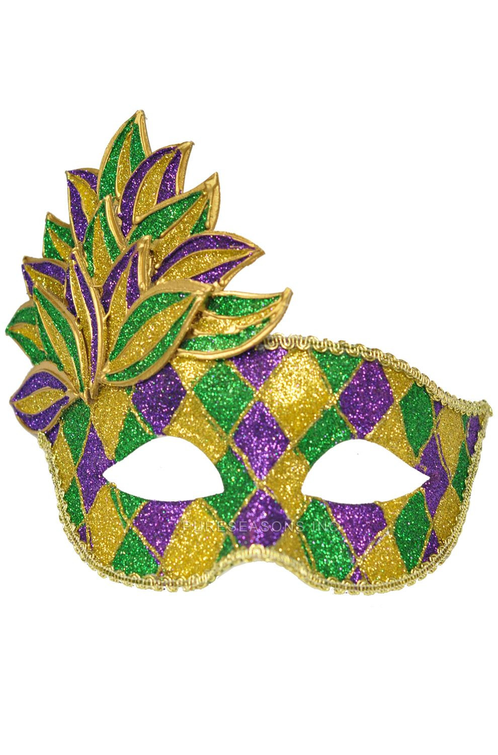 Mardi Gras Leaf Adult Mask