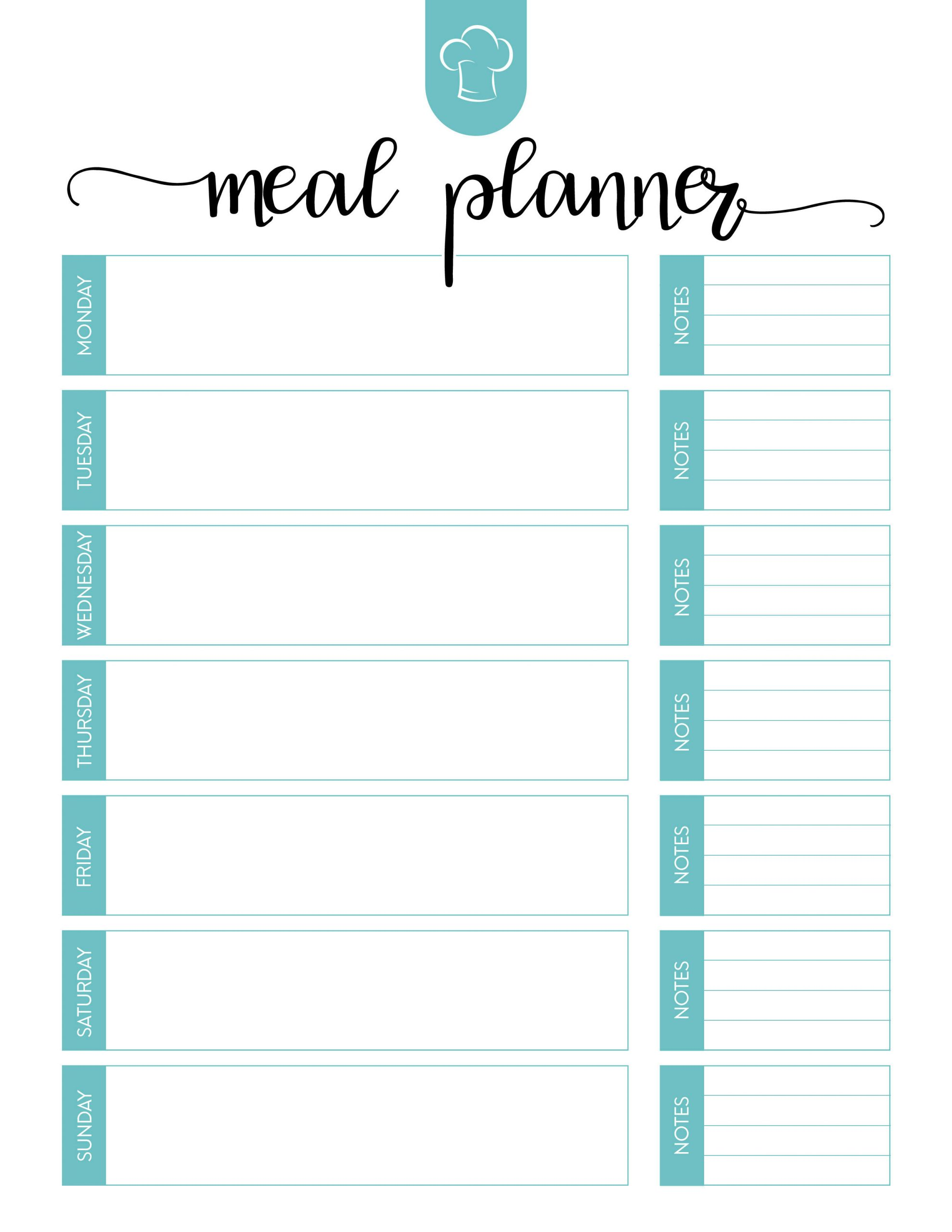 Meal Plan Template Excel