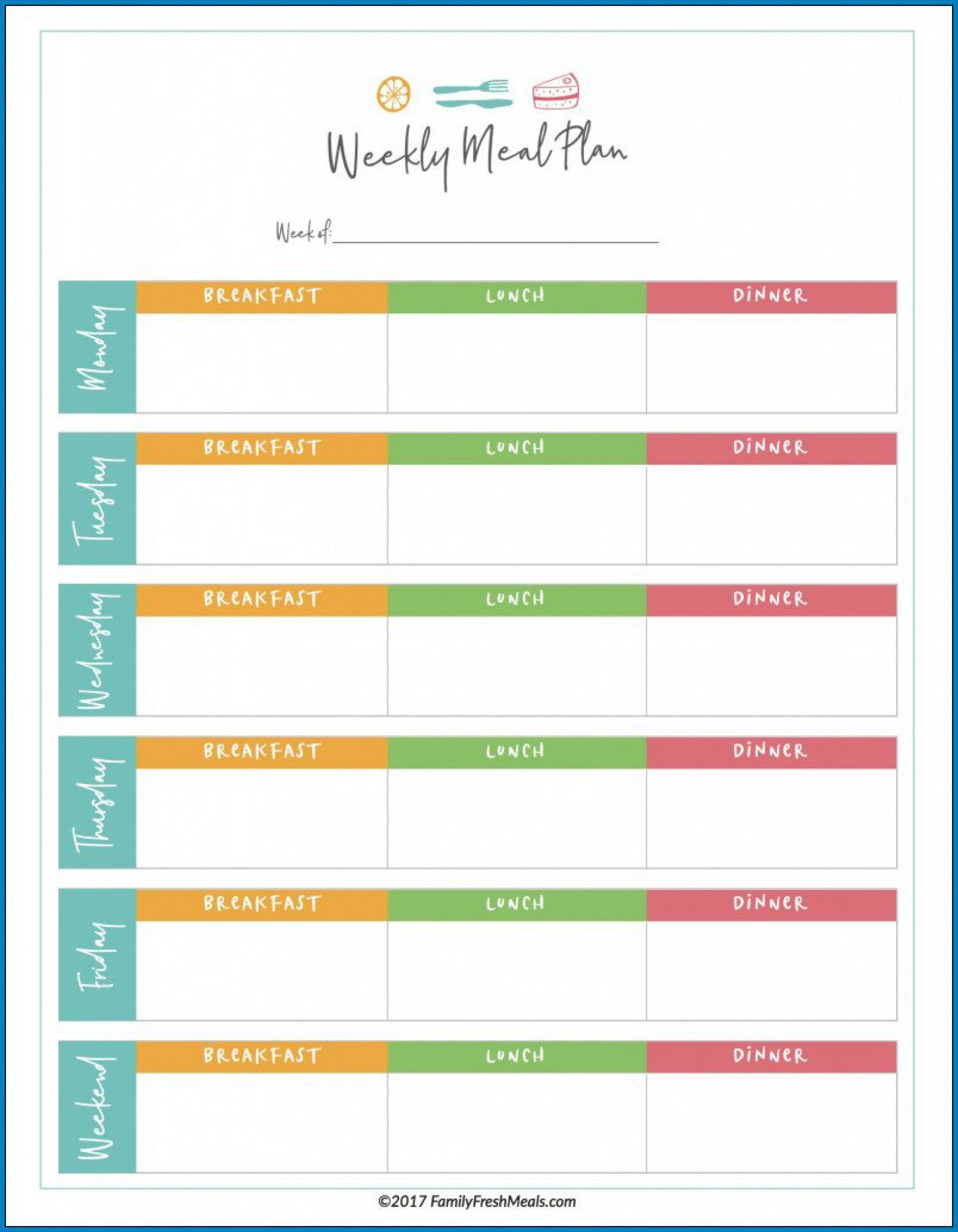 Meal Plan Template Excel Addictionary