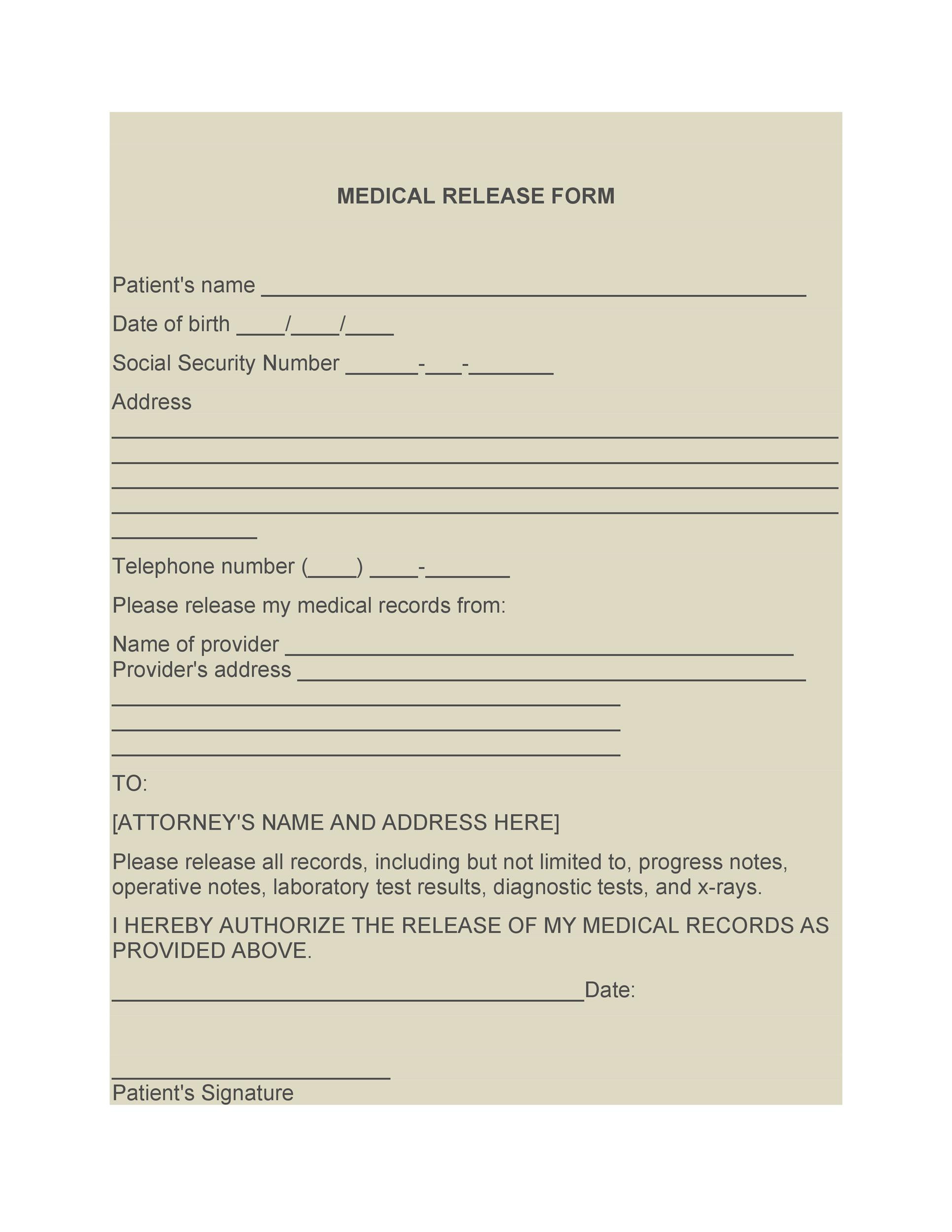 30 Medical Release Form Templates TemplateLab