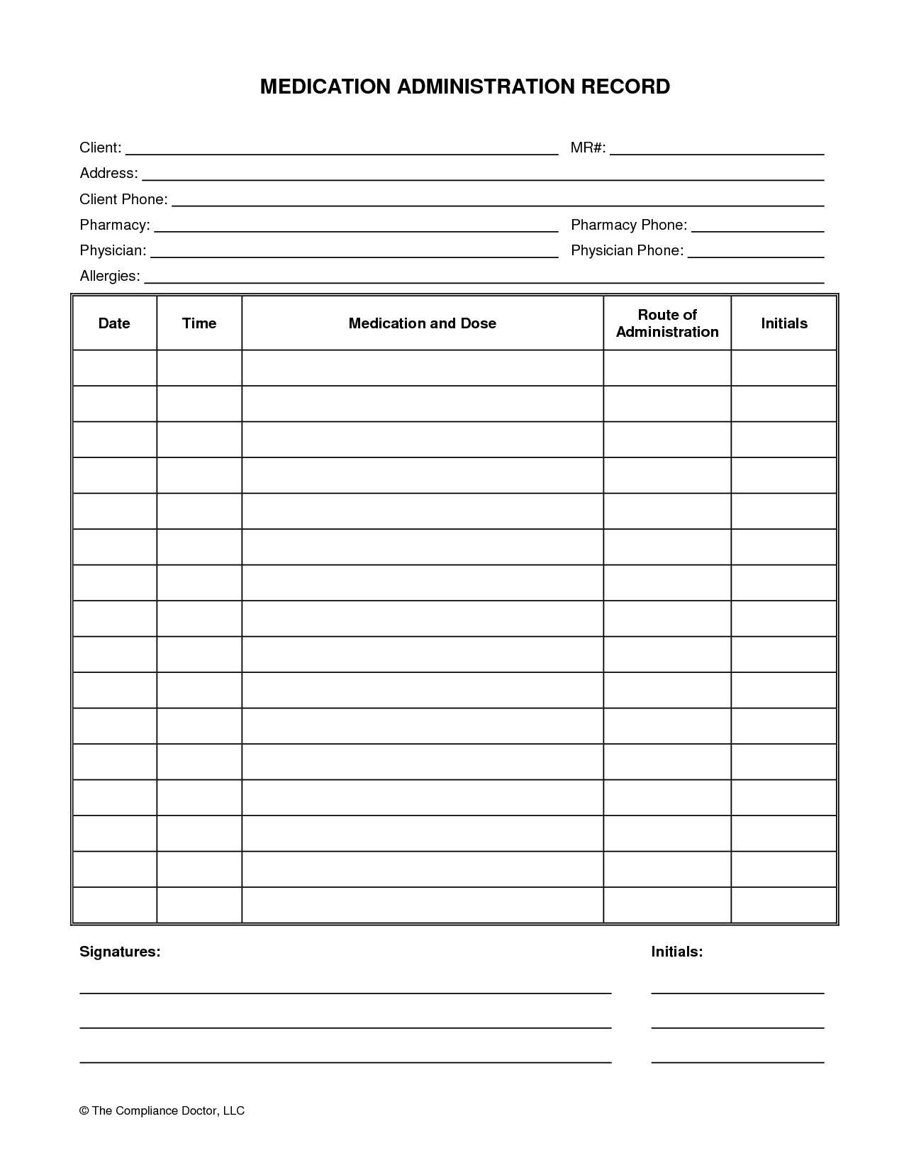 Medication Administration Record Template