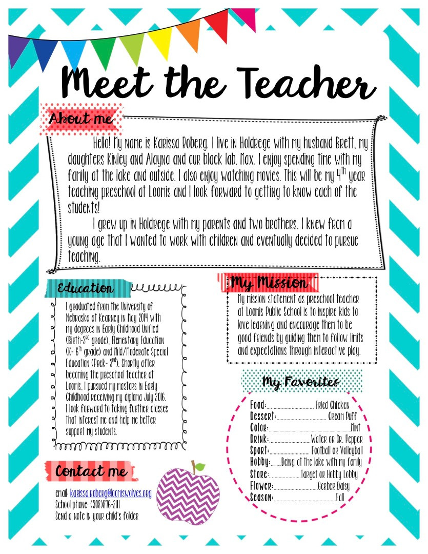 Meet the Teacher Template