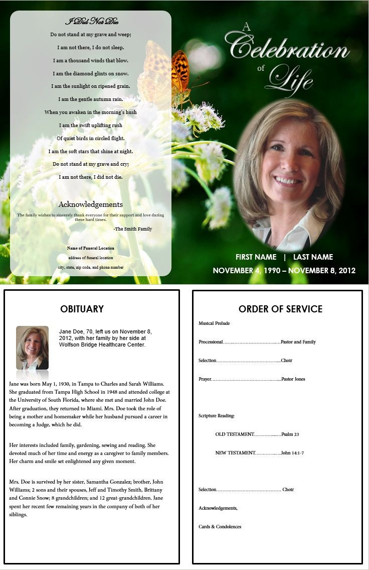 Memorial Services Program Template