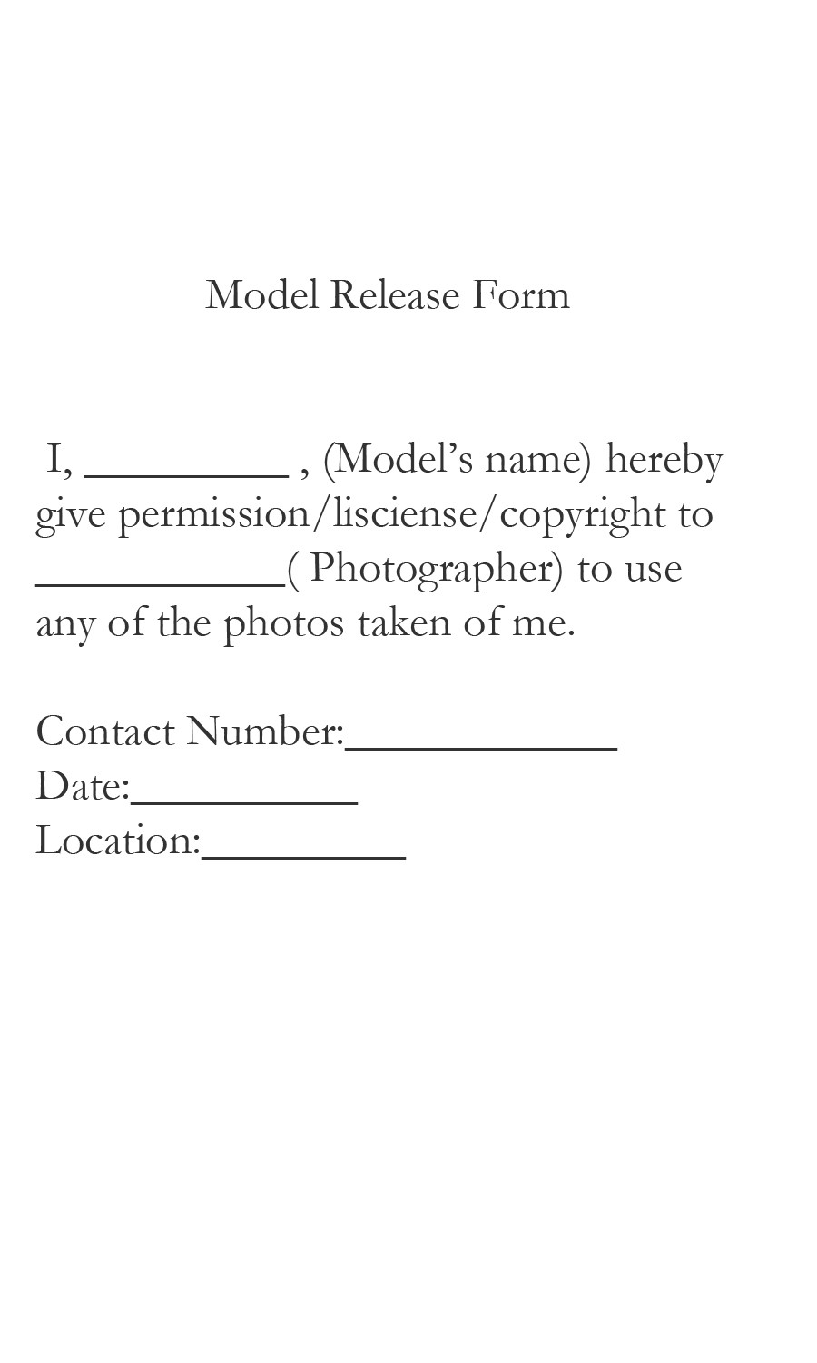 Model Release form Template