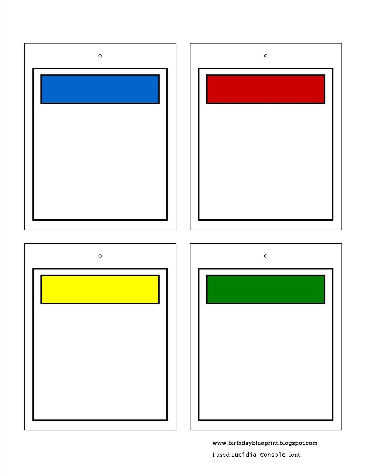 Monopoly Property Cards Template