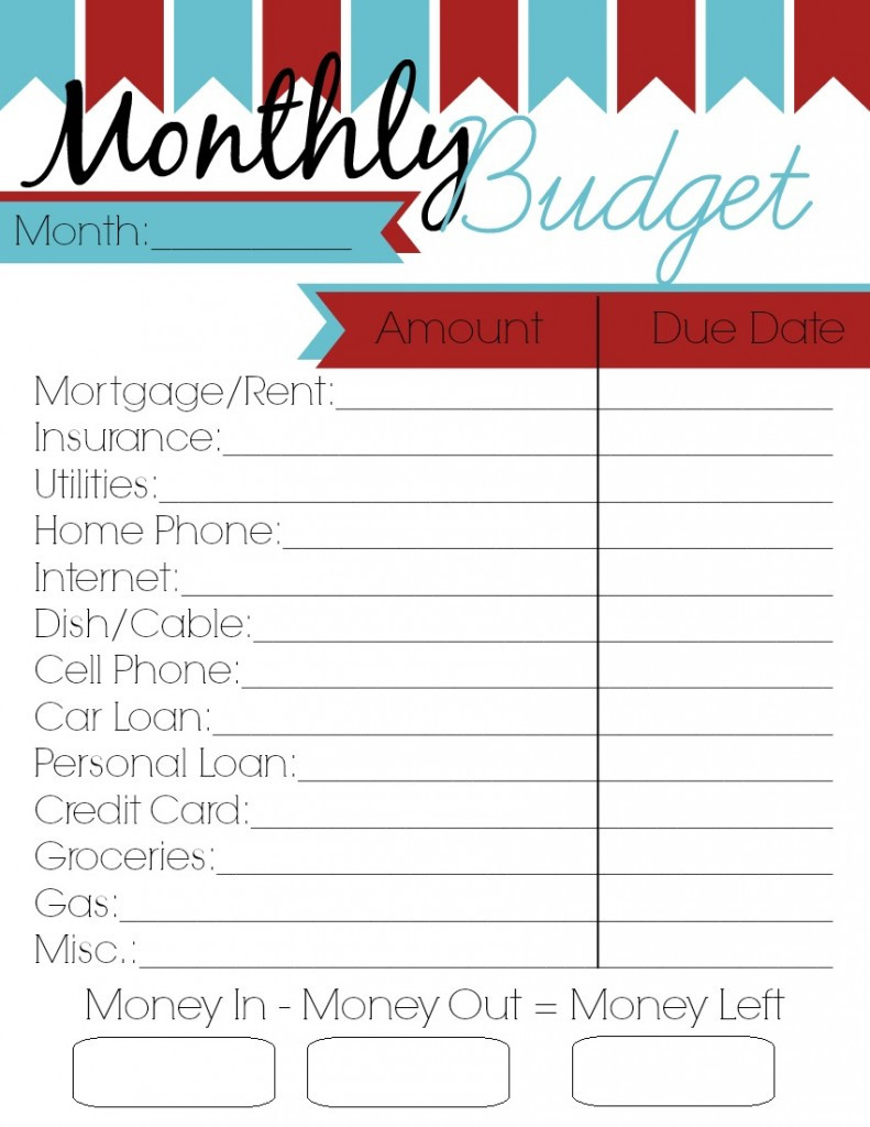 Monthly Budget Template Free