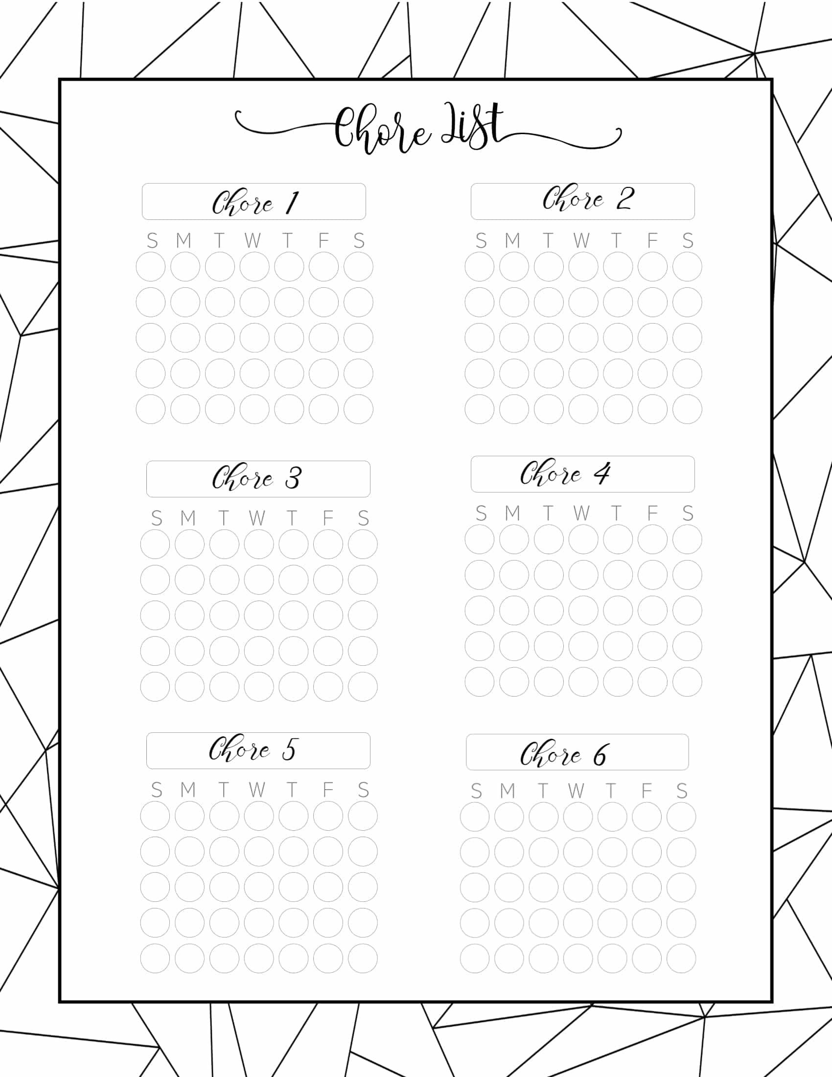 Monthly Chore Chart Template