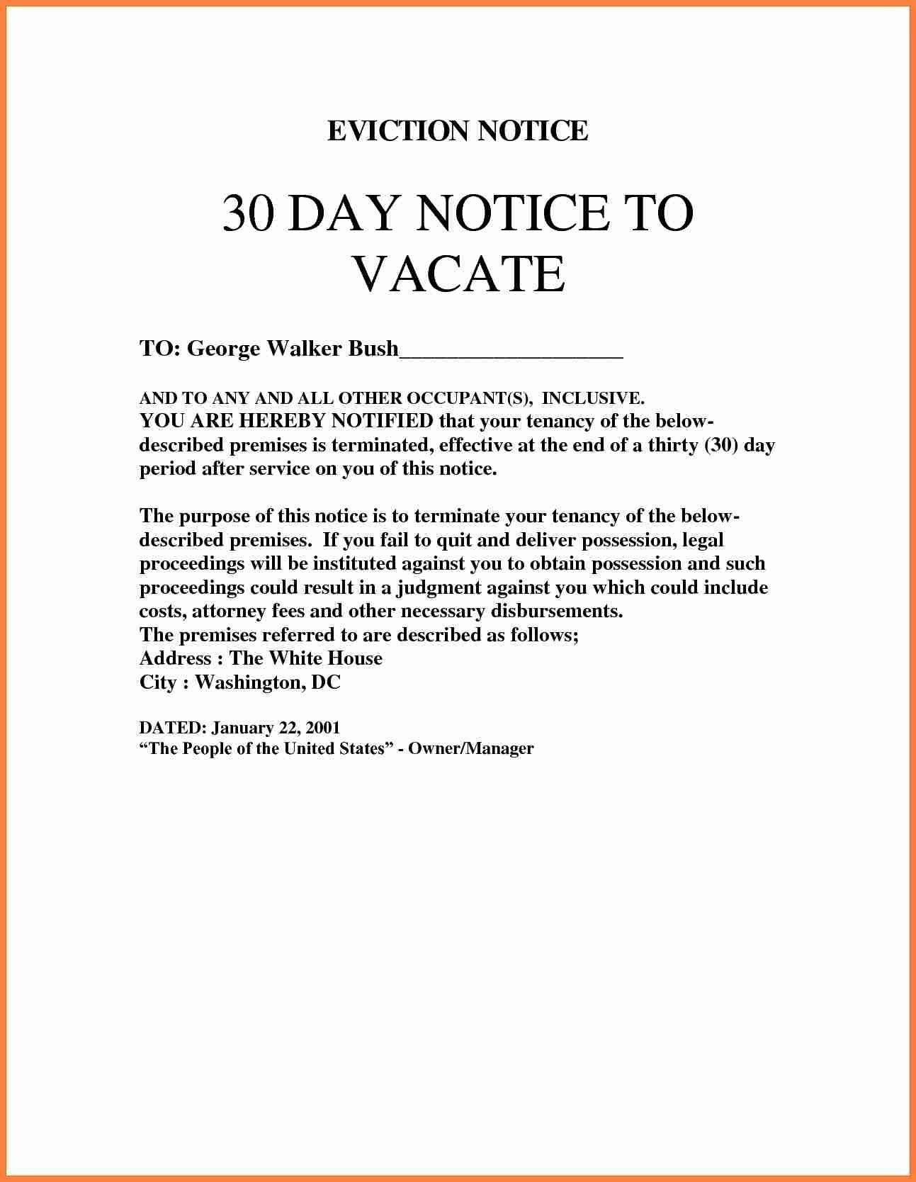 Notice Of Eviction Template