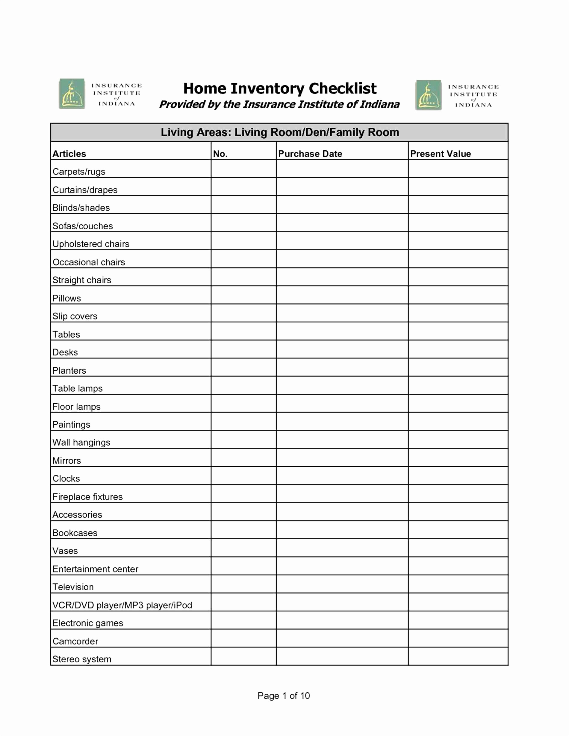 Office Supply List Template