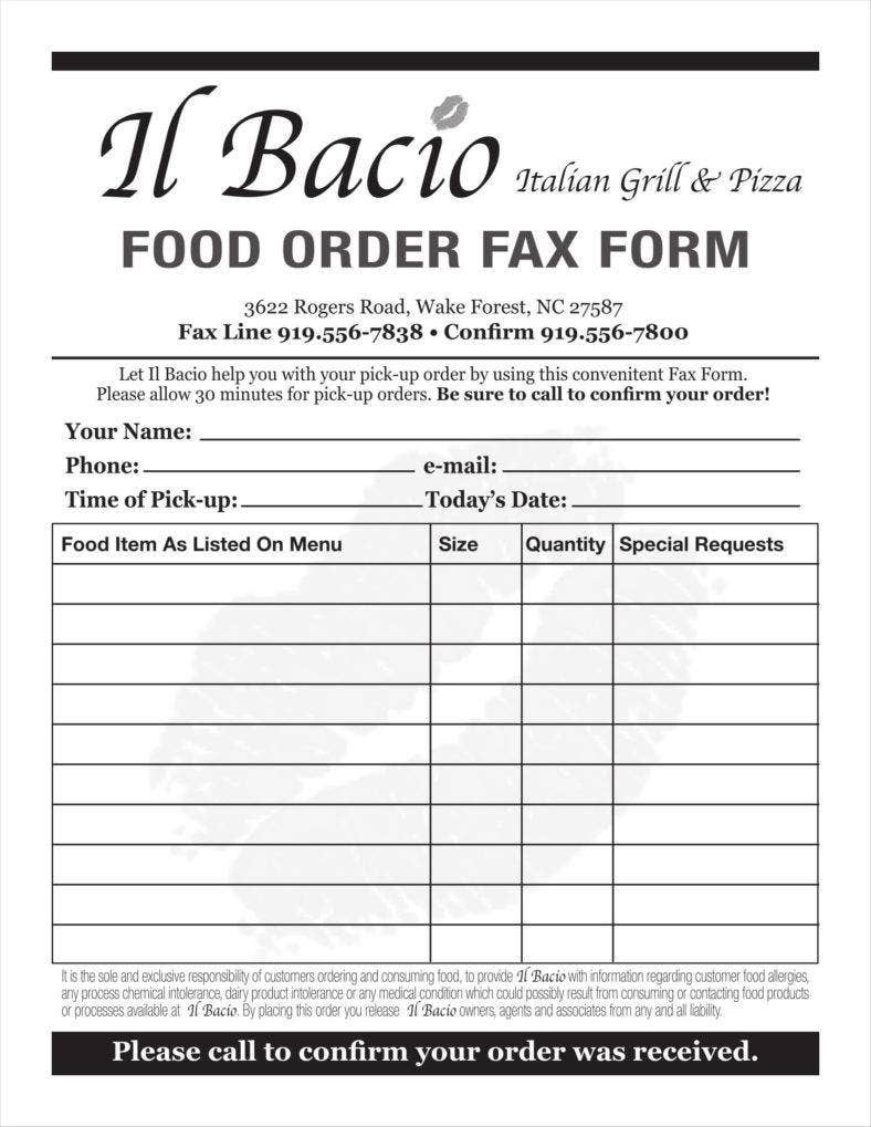 Order forms Template Word