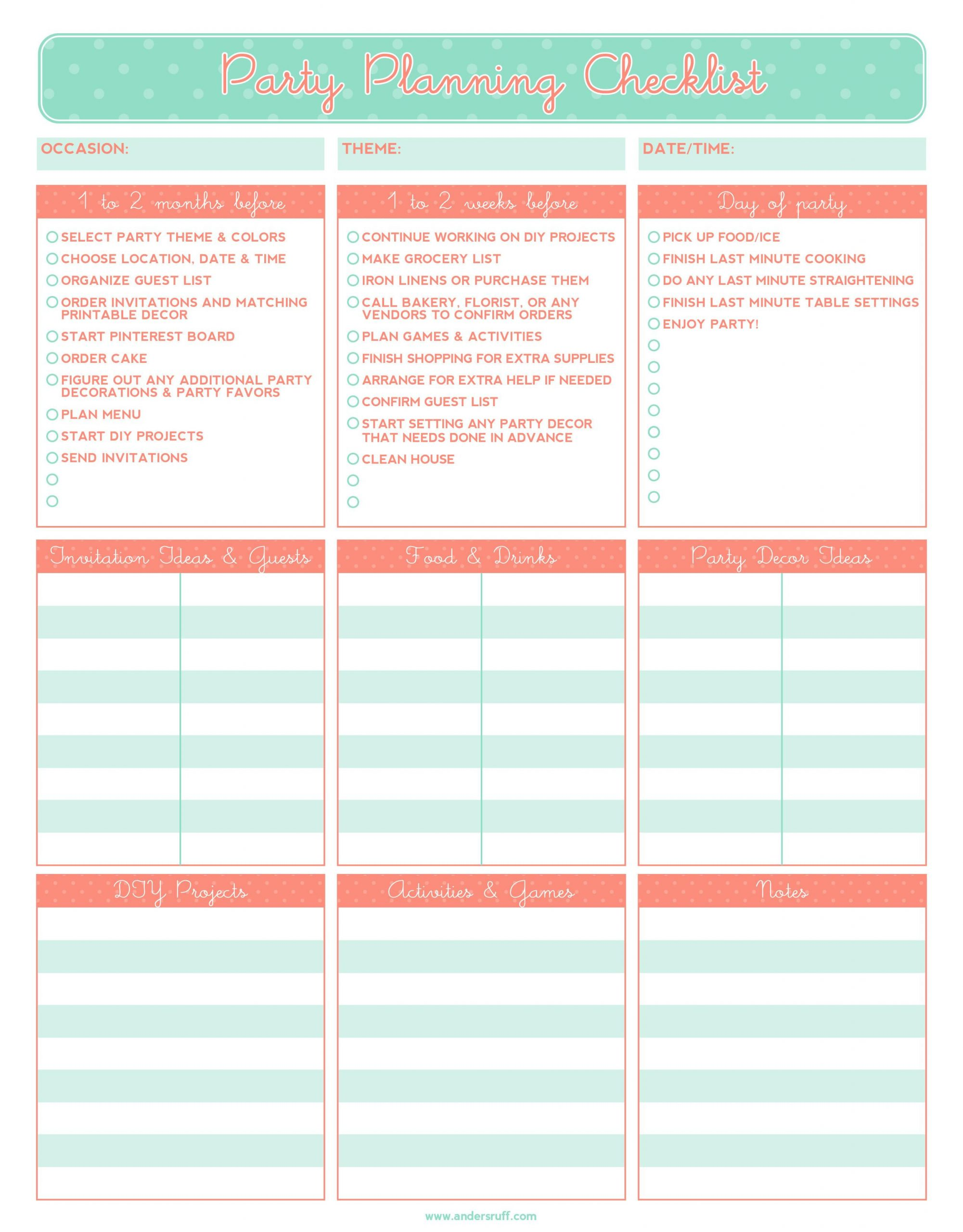 Party Guest List Template