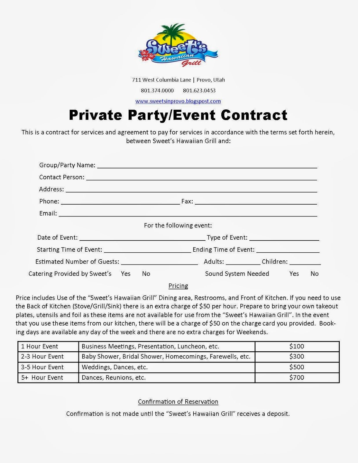 party planner contract template Google Search