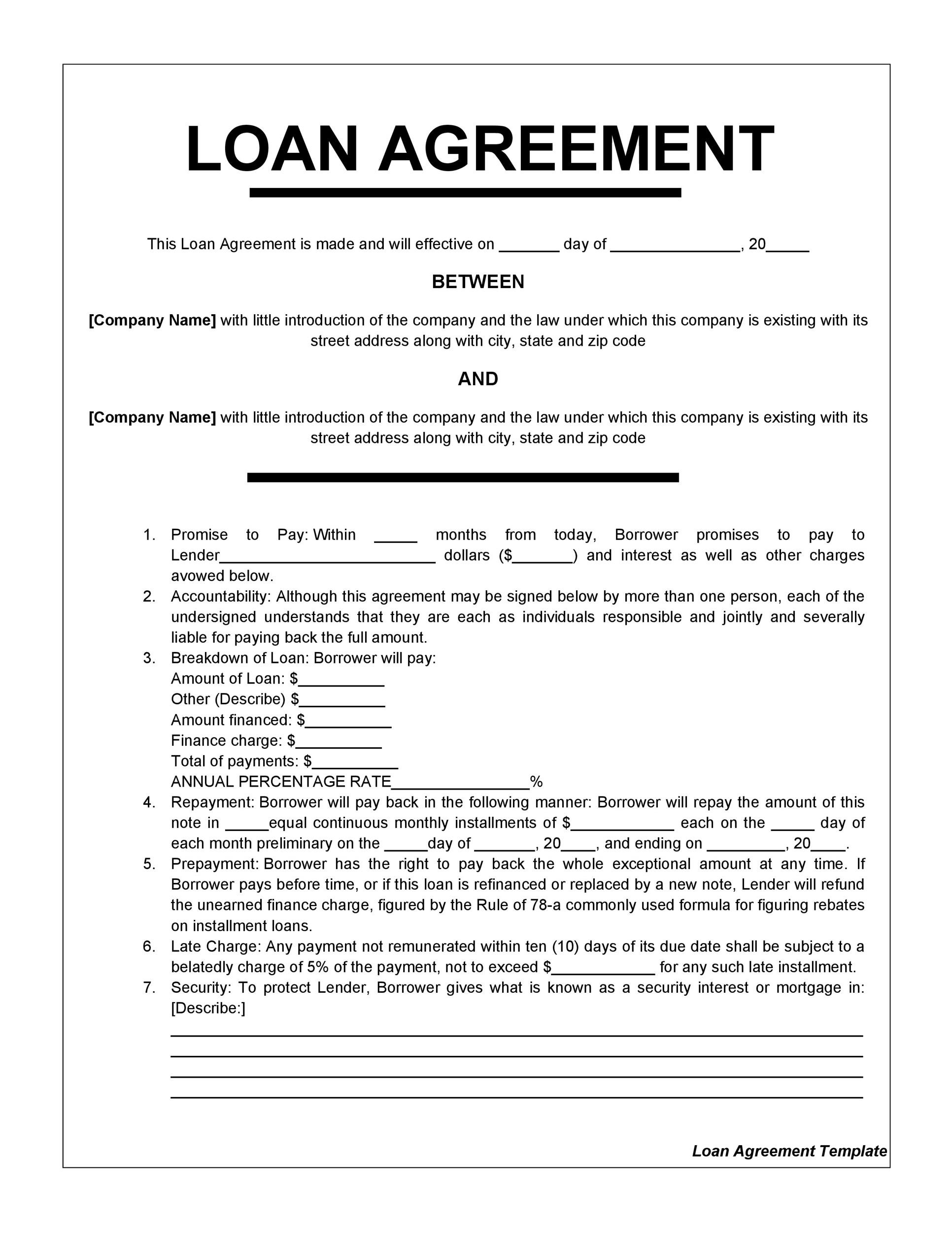 Personal Loan Agreement Template