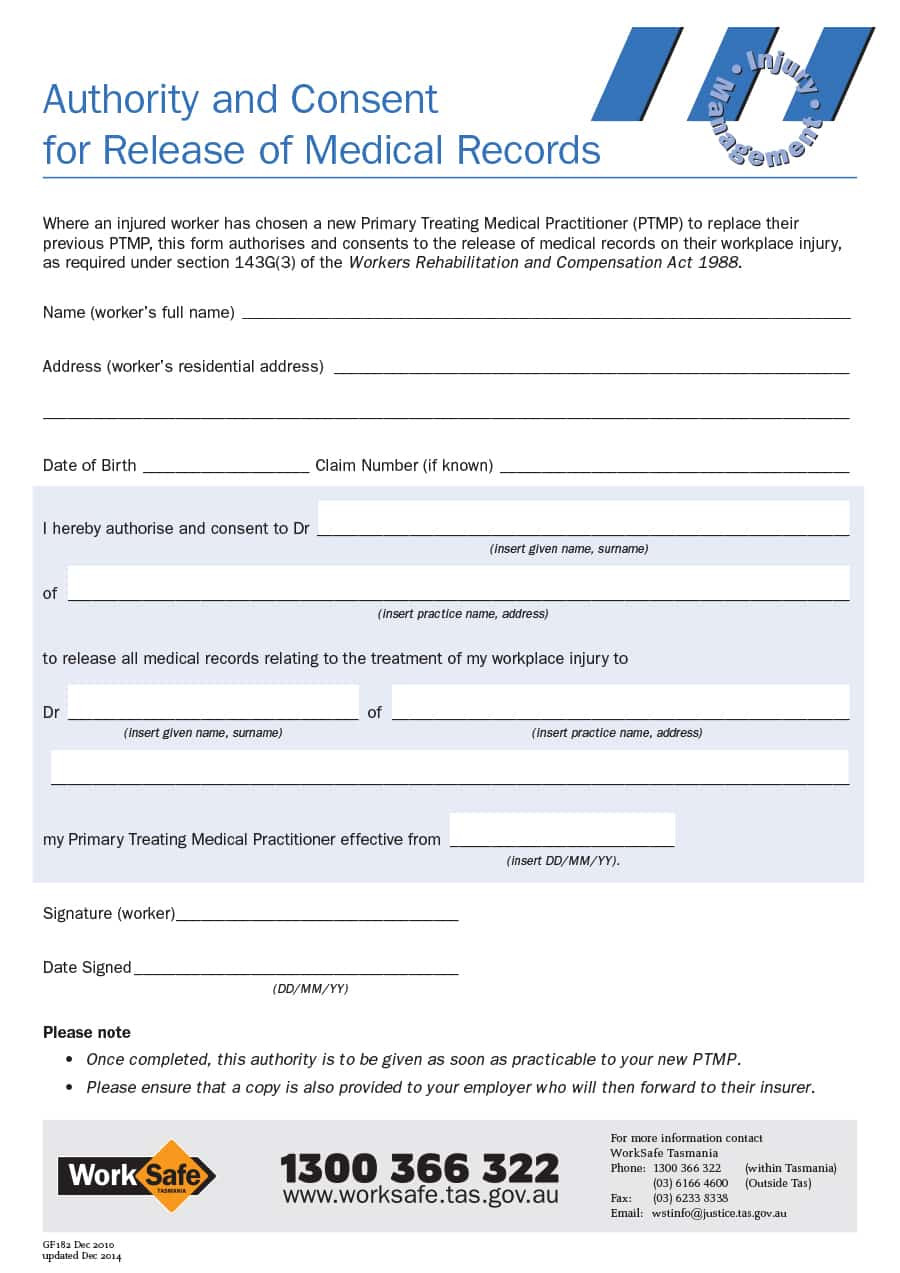 Personal Medical History Template
