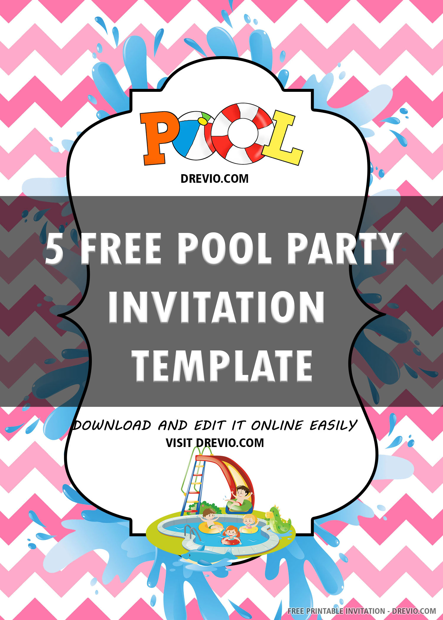 Pool Party Invitations Template