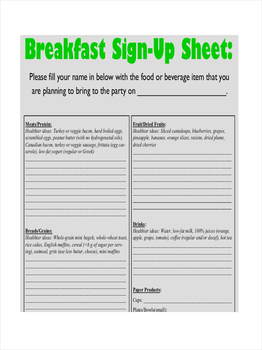 Potluck Sign Up Template
