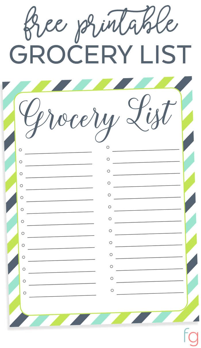 Printable Grocery Lists Template
