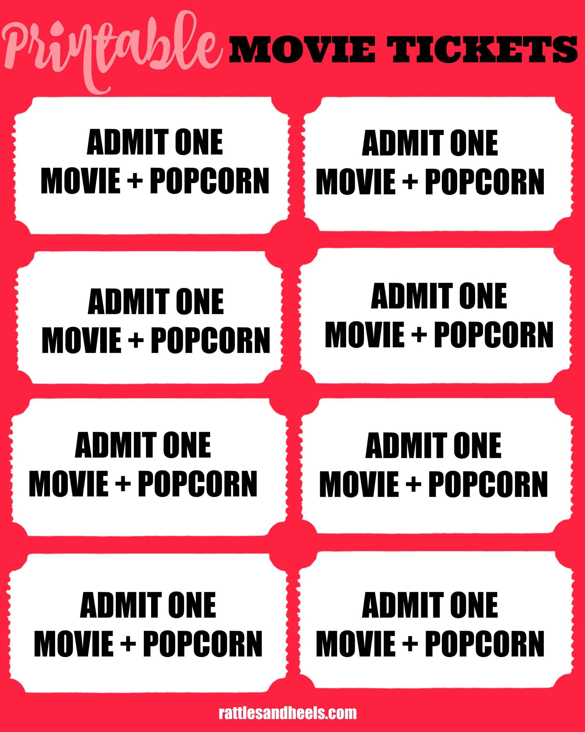 Printable Movie Ticket Template