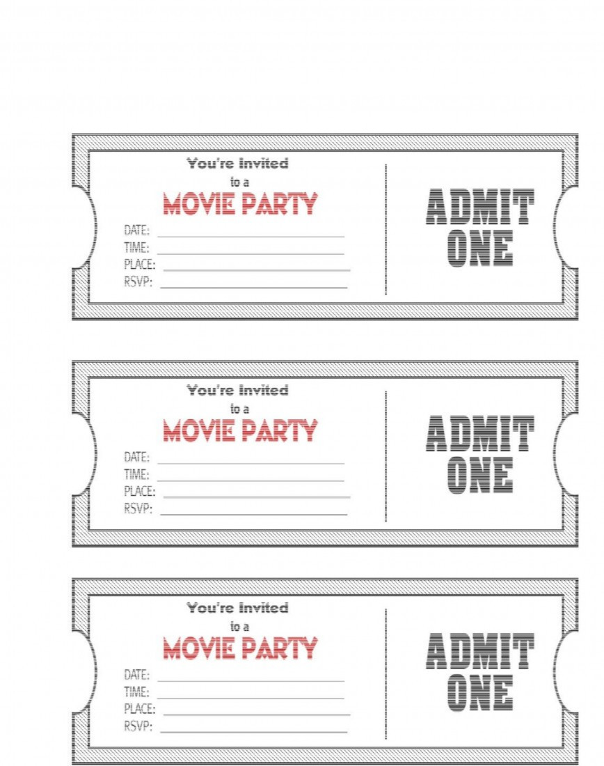 Printable Movie Ticket Template Addictionary
