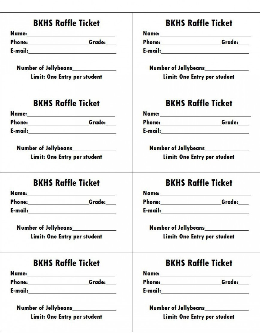 Raffle Ticket Template Free