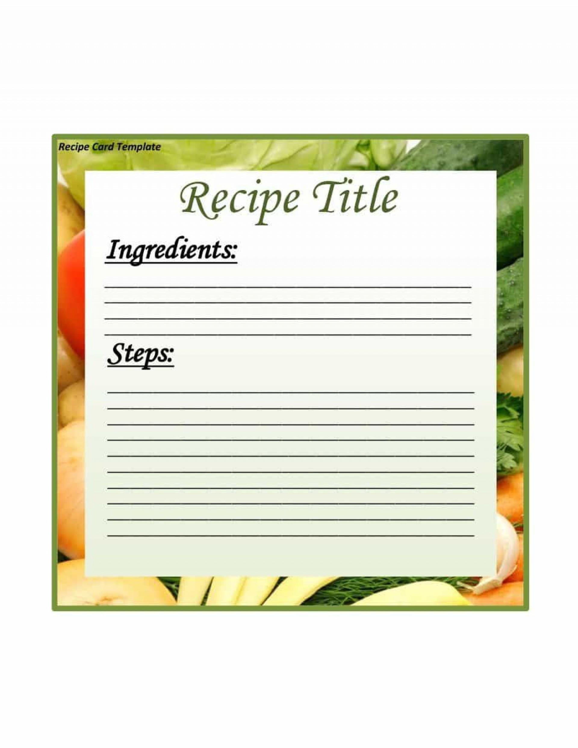 Recipe Card Template Free