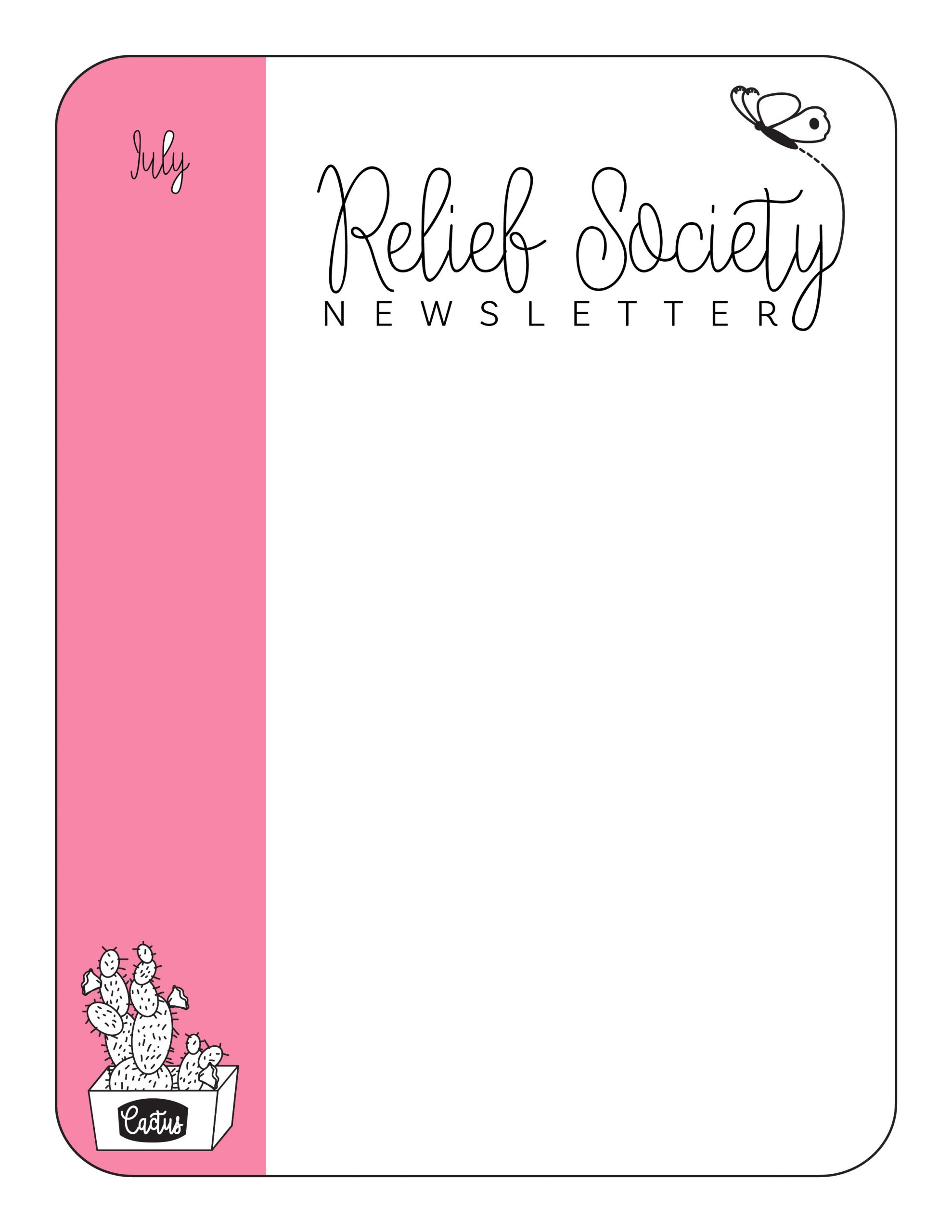 Relief society Newsletter Template