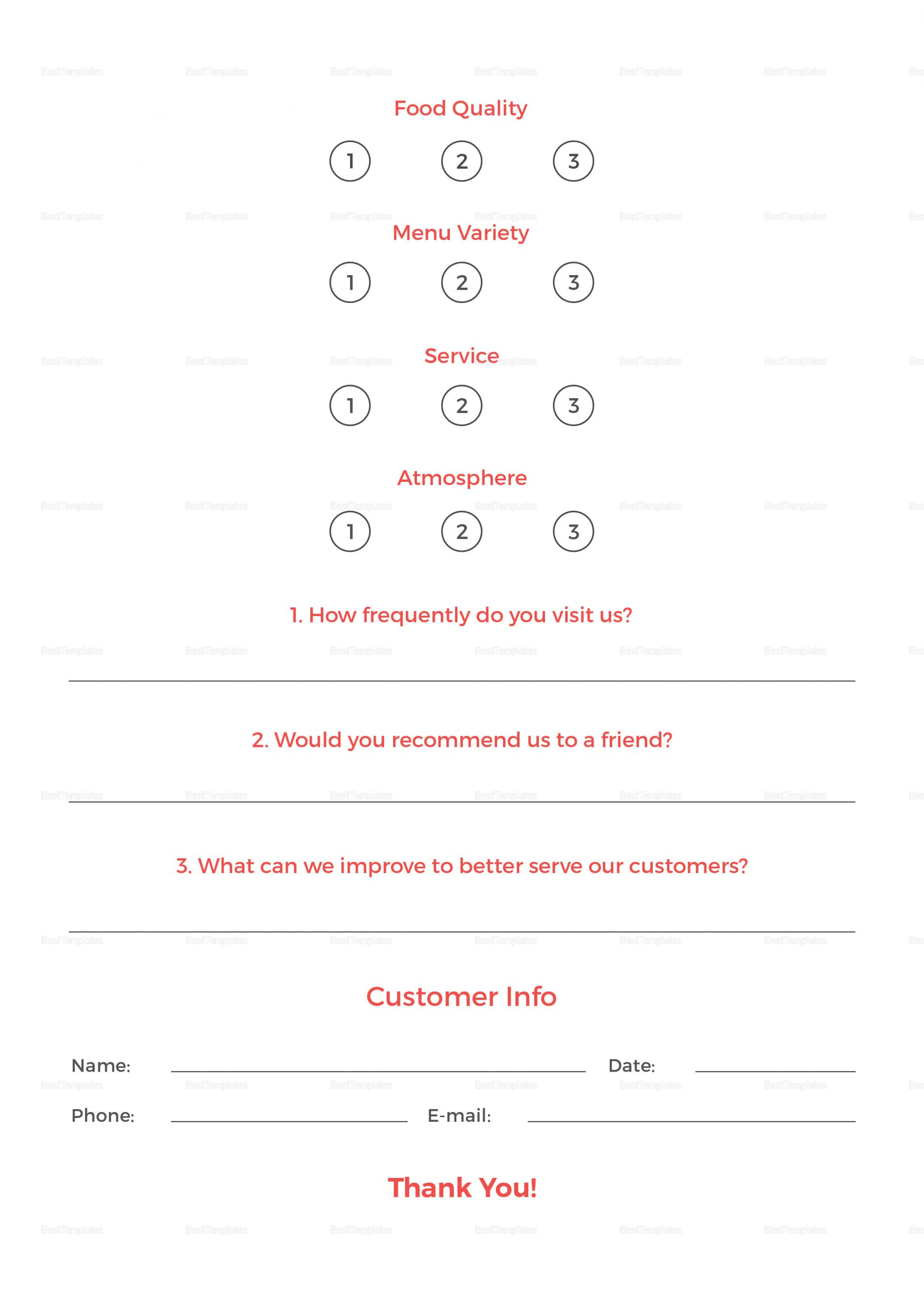 Restaurant Comment Card Template