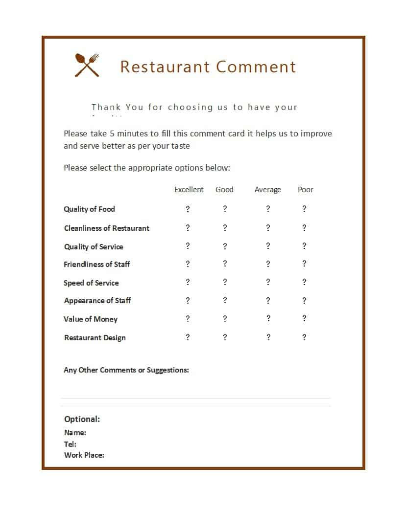9 Restaurant ment Card Templates Free Sample Templates