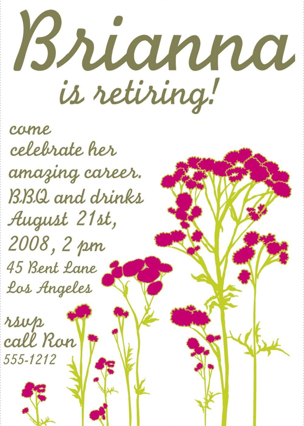 Free Templates For Retirement Party Invitations