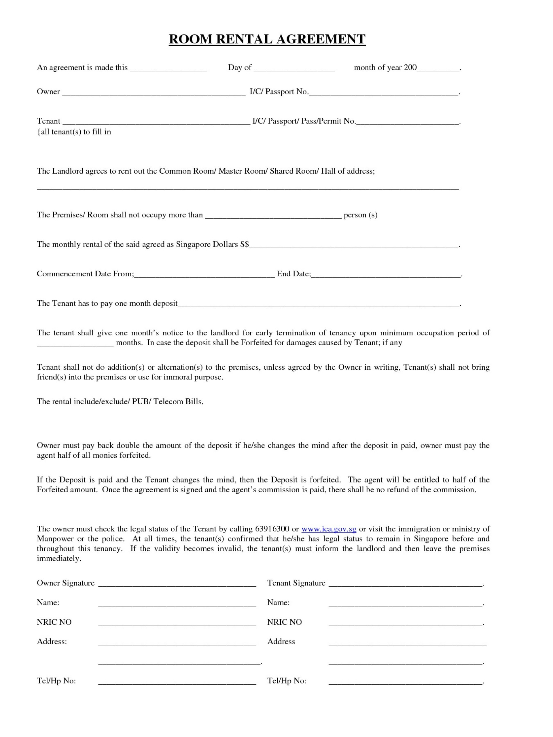 Room Rental Agreement Template