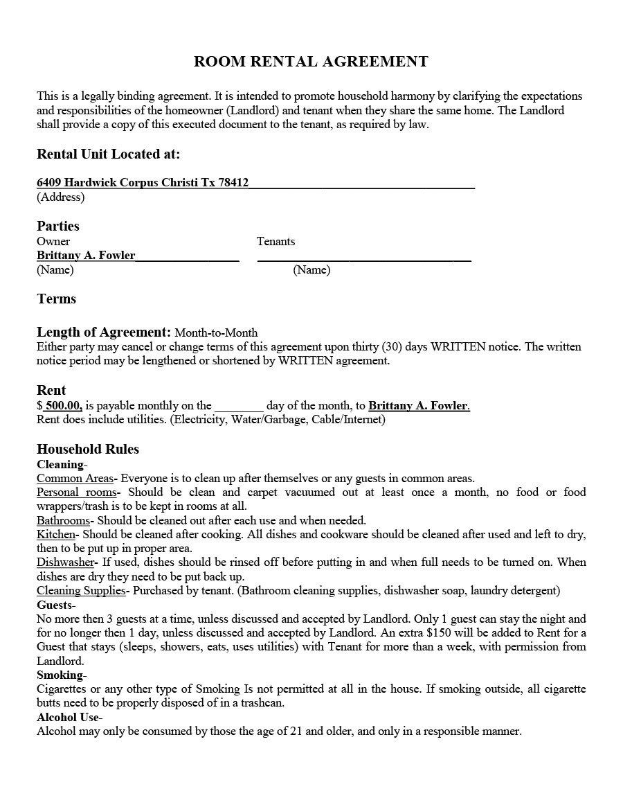 39 Simple Room Rental Agreement Templates TemplateArchive