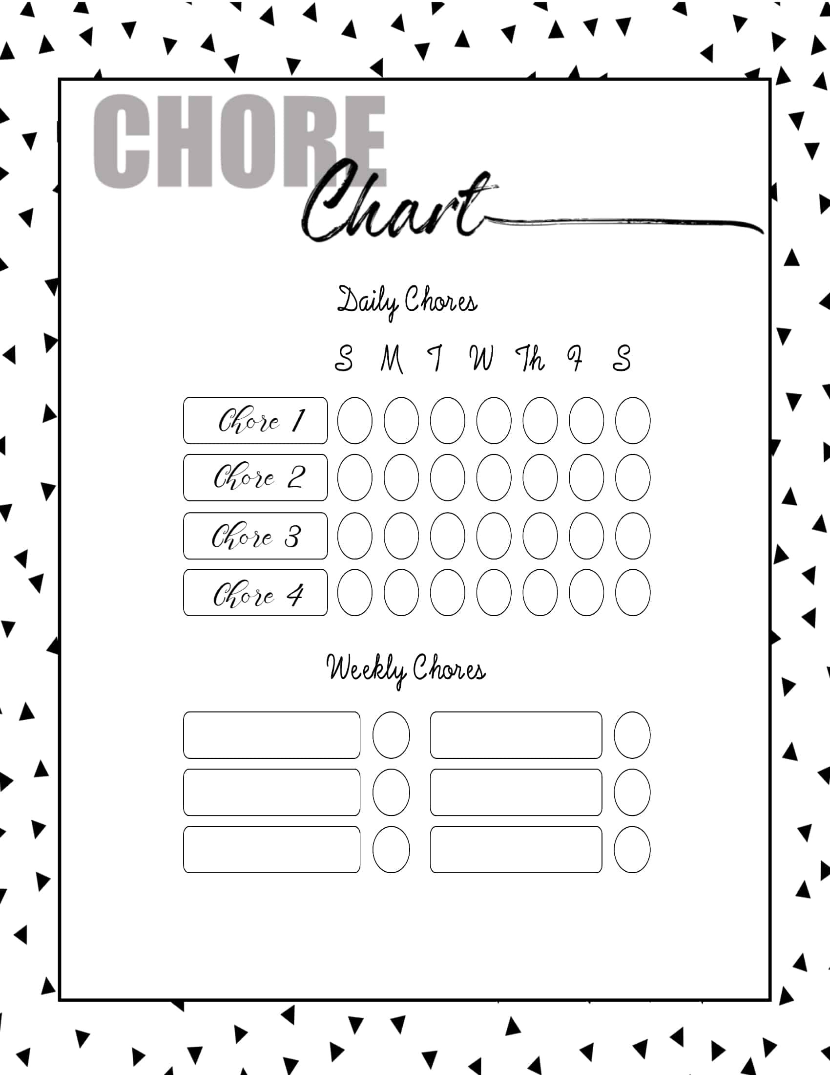 Roommate Chore Chart Template