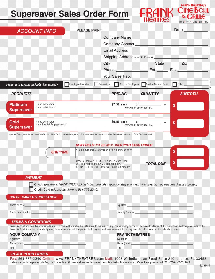 Sales order form Template