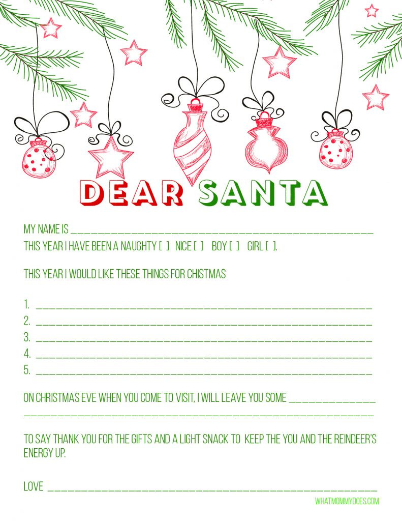 Santa Wish List Template