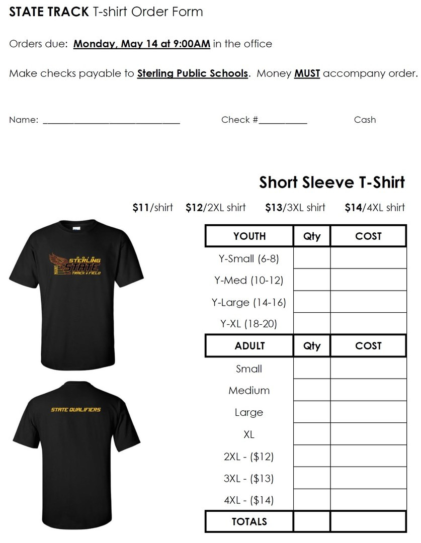 Shirt order form Template