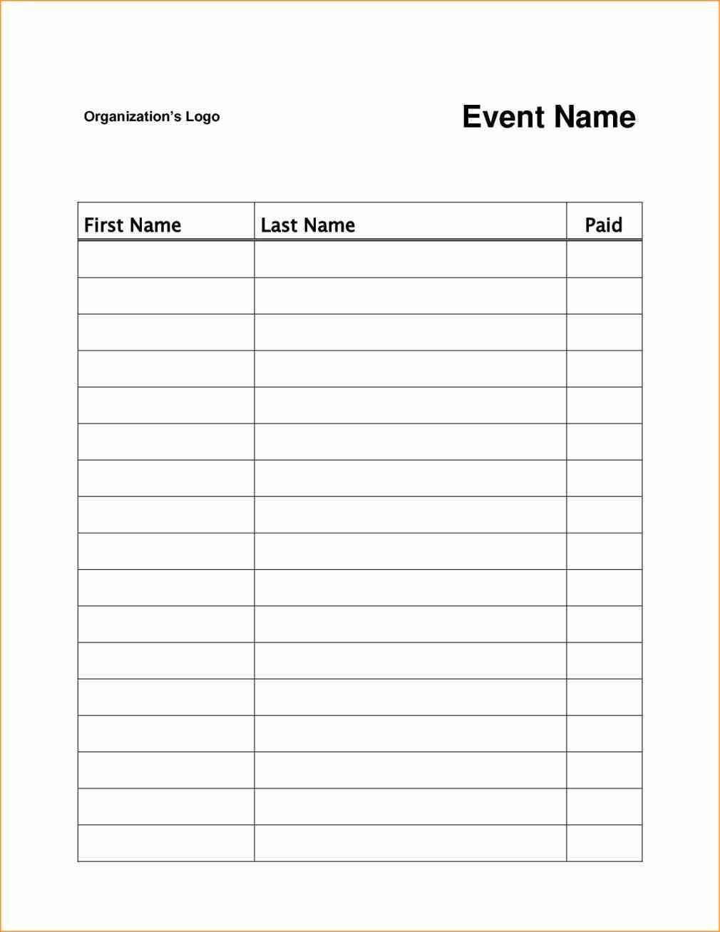 event or class workshop forms a Sign Up Sheet Template Word