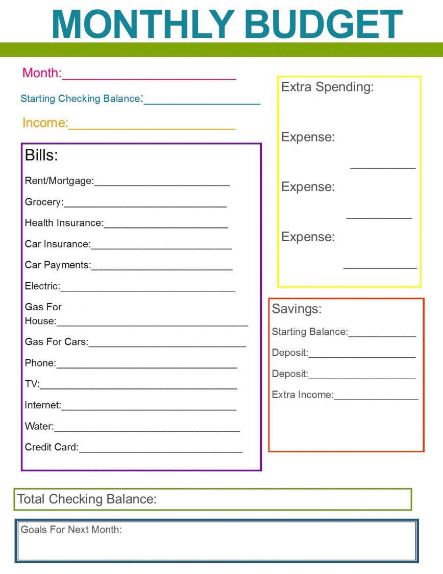 Simple Weekly Budget Template