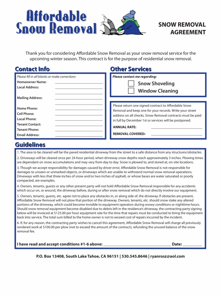 Snow Removal Contract Template