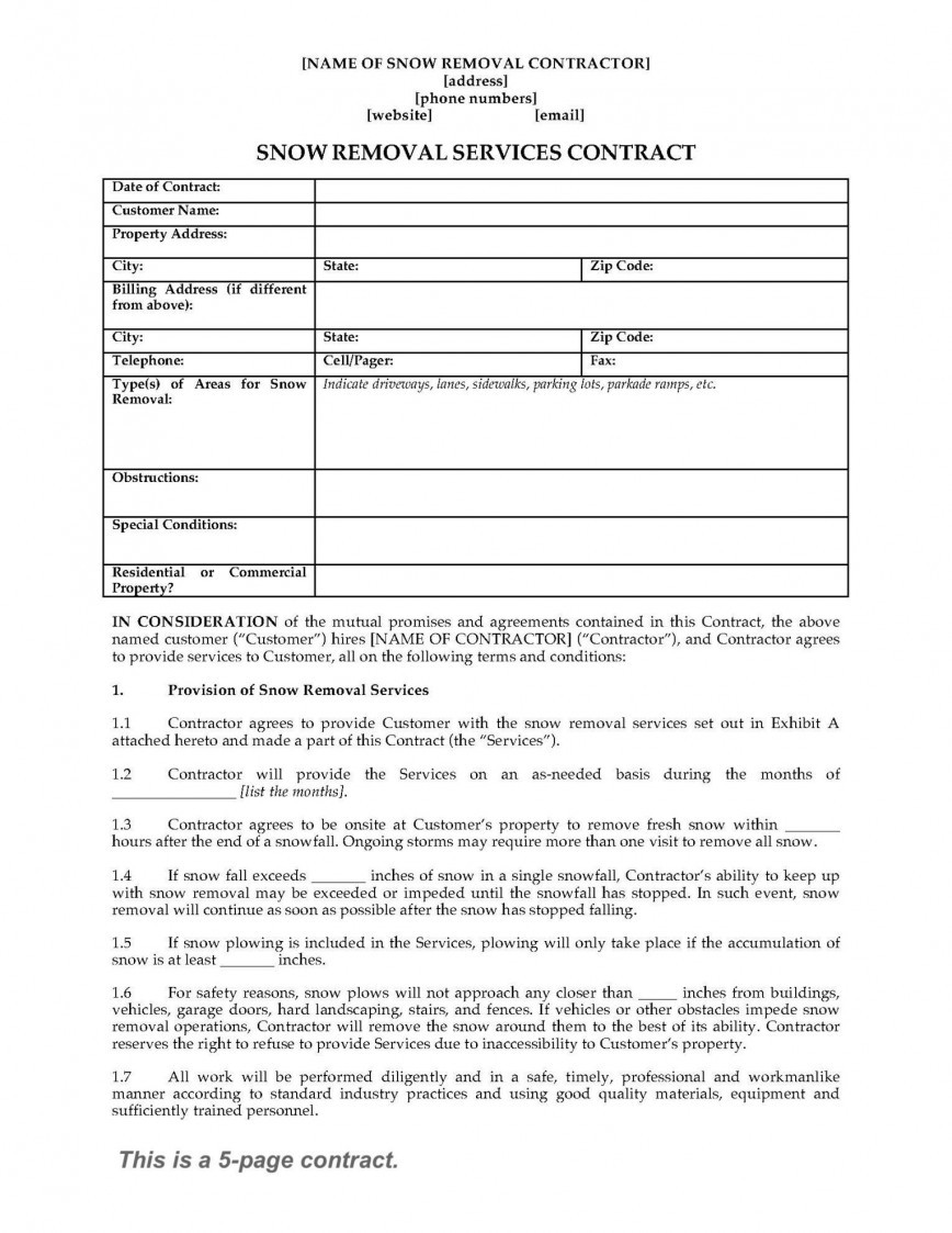 Snow Removal Contract Template Addictionary