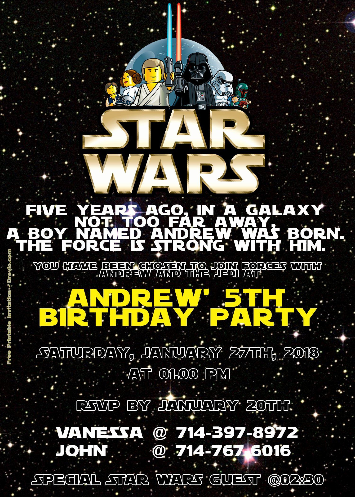 Lovely Star Wars Birthday Invitations Template