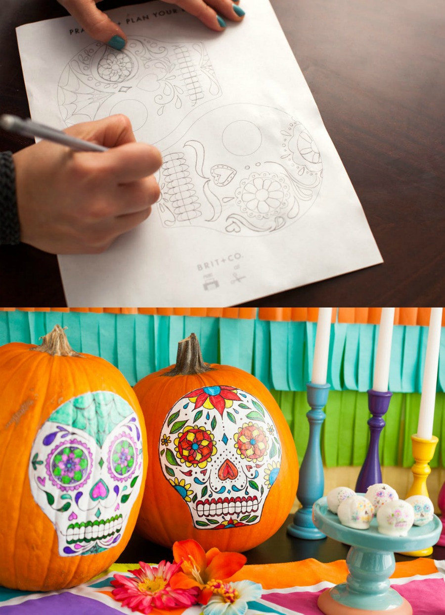 Sugar Skull Pumpkin Template